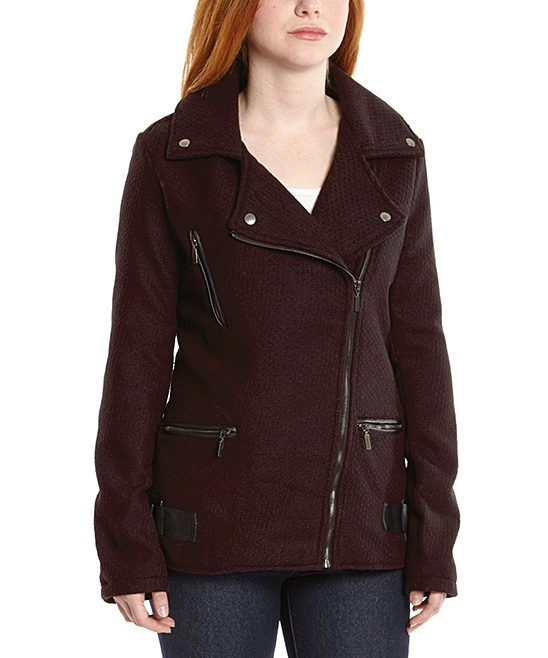 Women's Coats $13.49! Burgundy Asymmetrical-Zip Moto Jacket Was $98! Just $13.49!