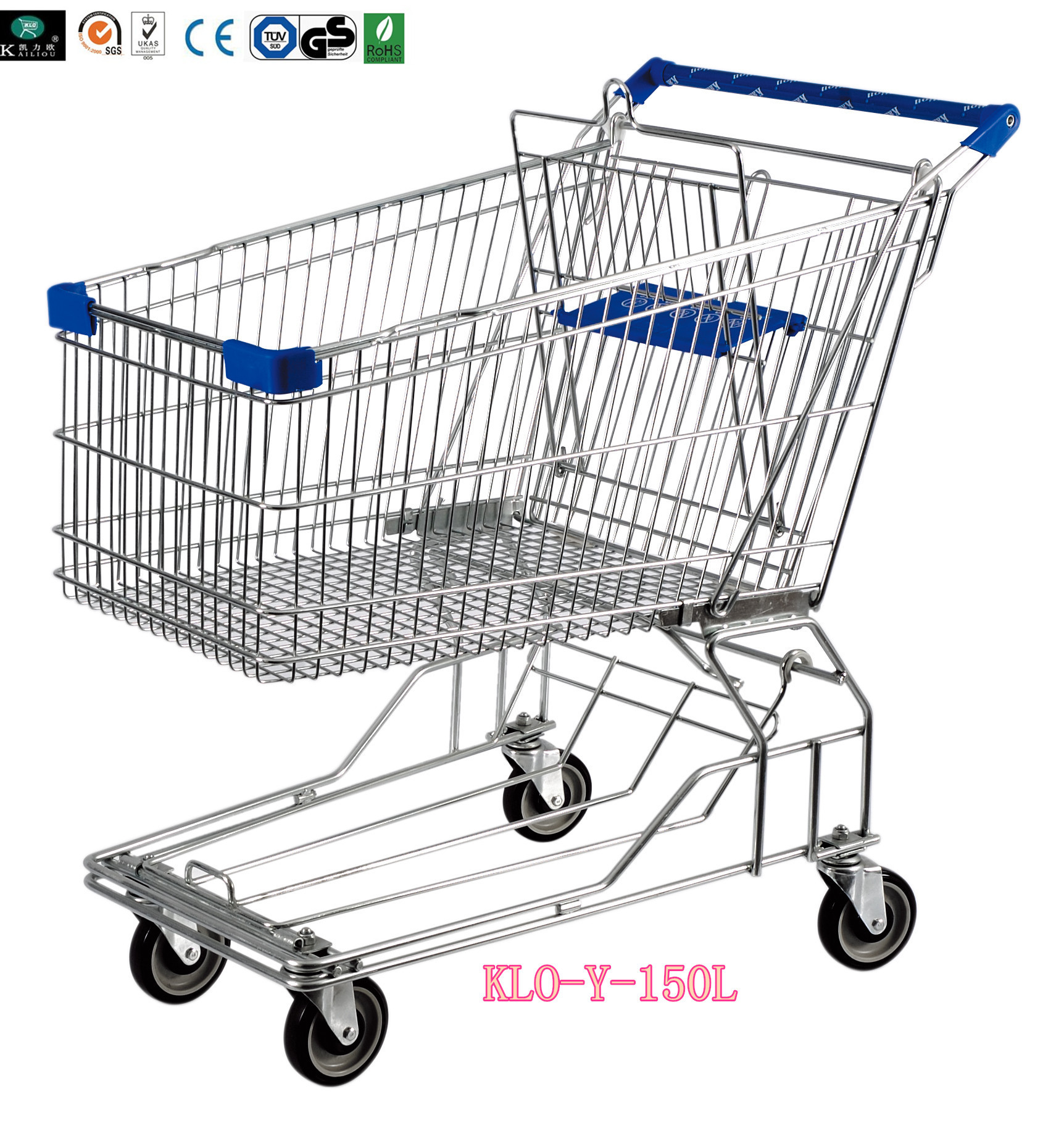 Heavy Duty 4 Wheel Metal Wire Shopping Trolley For