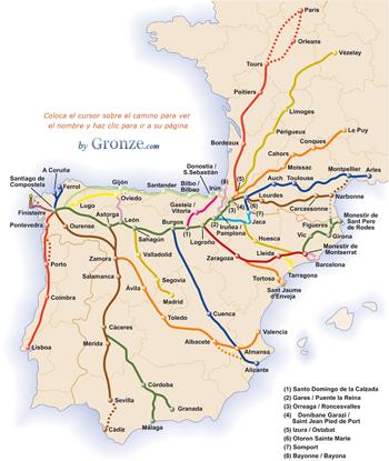 Mapa ruta Camino de santiago