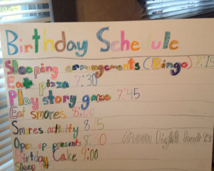 party schedule
