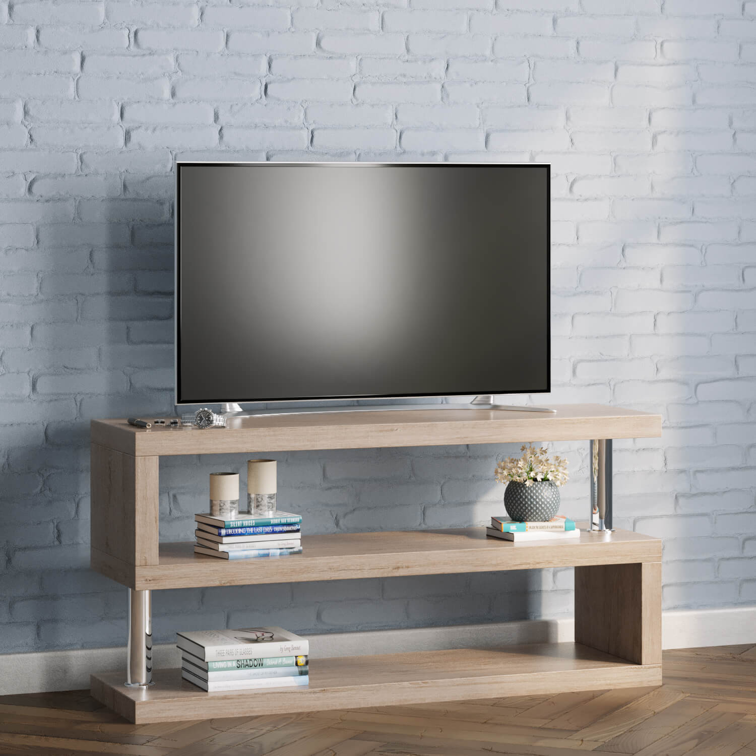 miami s shaped tv stand