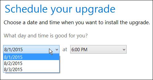 Schedule upgrade