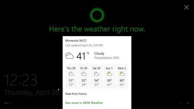 Cortana displaying on The Windows lock screen with icon.
