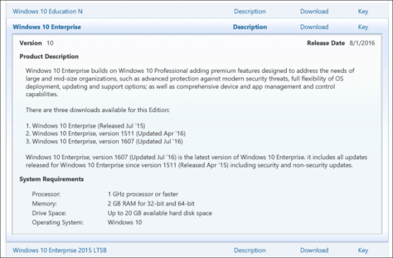 Clé de licence de licence Windows 10 VLSC Enterprise Education Pro
