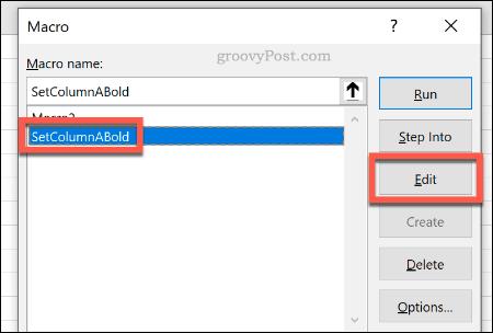 Редактирование макроса Excel