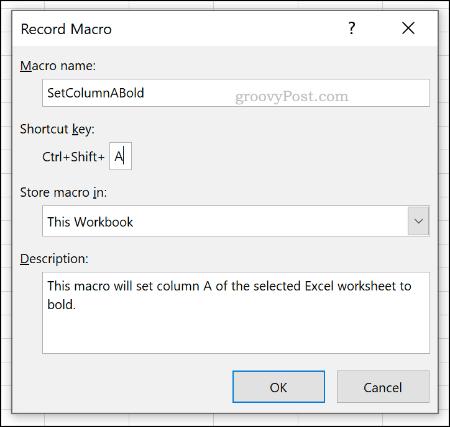 Меню параметров записи макроса в Excel