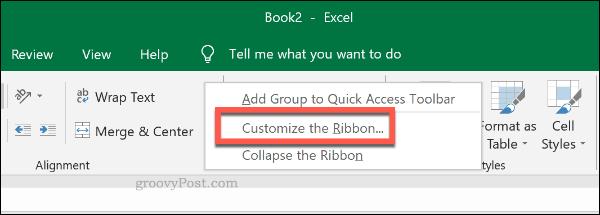 Меню настройки панели ленты Excel