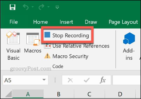 Кнопка «Остановить запись», чтобы остановить запись макроса в Excel