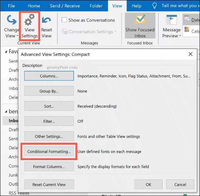 Кнопка параметров условного форматирования в Microsoft Outlook