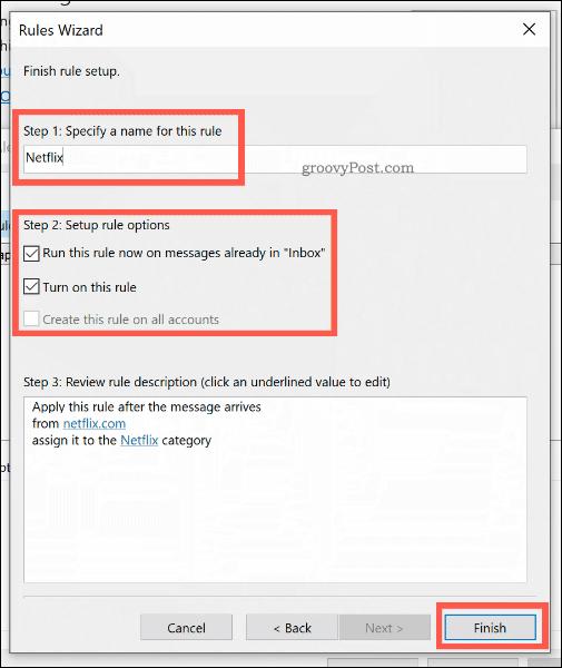Подтверждение нового правила Outlook