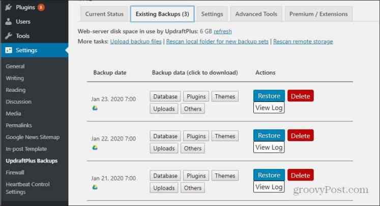 UpdraftPlus WordPress резервные копии