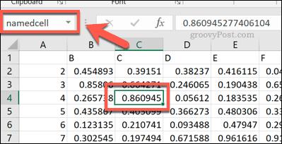 Ссылка на именованную ячейку в Excel