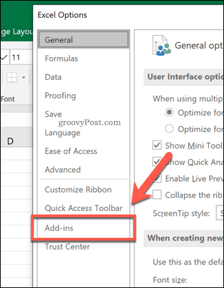 The Excel add-ins tab