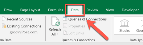 The Data tab on the Excel ribbon bar
