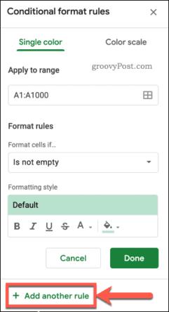 Добавление правила условного форматирования Google Таблиц