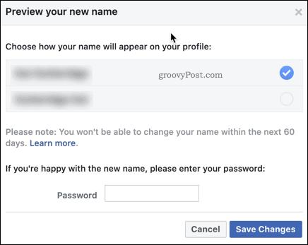 Подтверждение изменения имени в Facebook