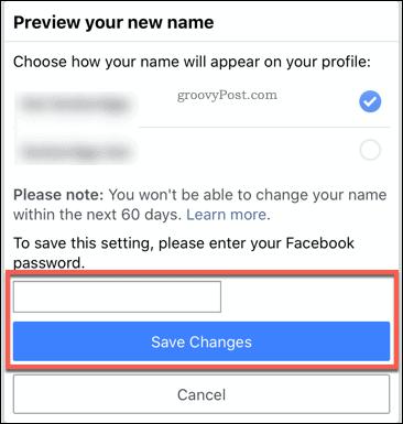 Подтверждение изменения имени Facebook в мобильном приложении