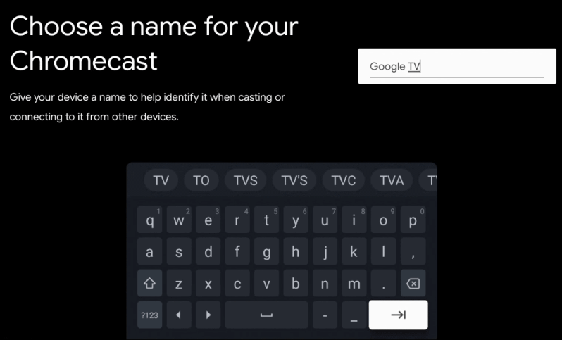 Введите название для Google TV