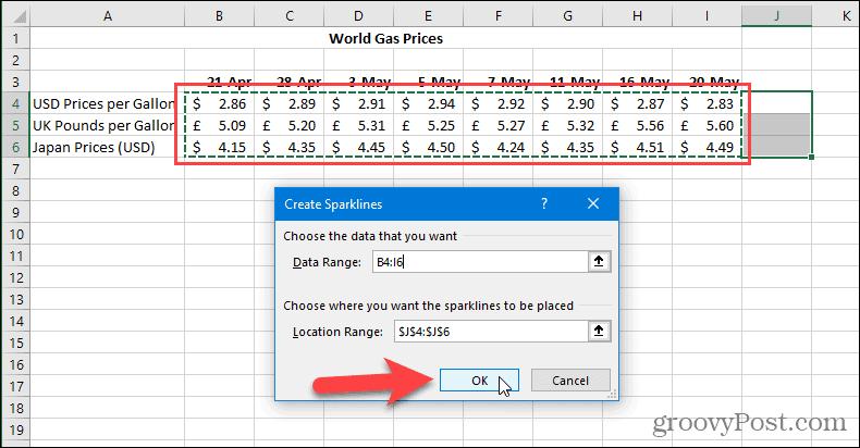 Диалог создания спарклайнов в Excel