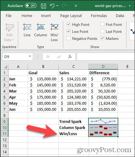 Спарклайн побед / поражений в Excel