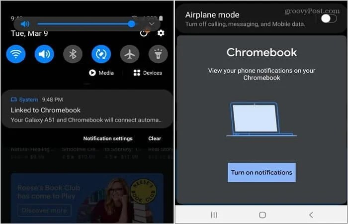 Chromebook connected android message