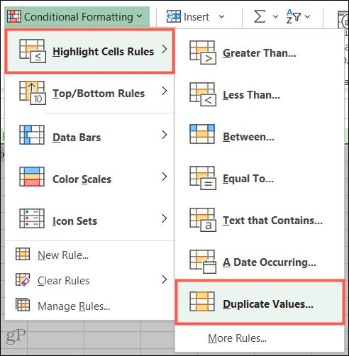 Выделите правила ячеек, повторяющиеся значения в Excel