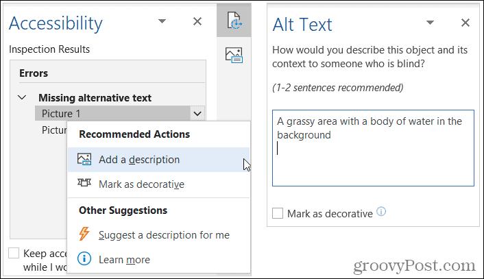 Добавить описательный замещающий текст в Word
