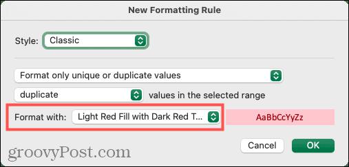 Выберите форматирование для дубликатов в Excel на Mac