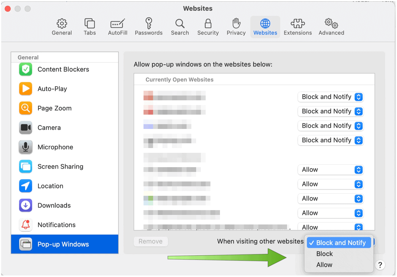 Safari for Mac Block Pop-Ups