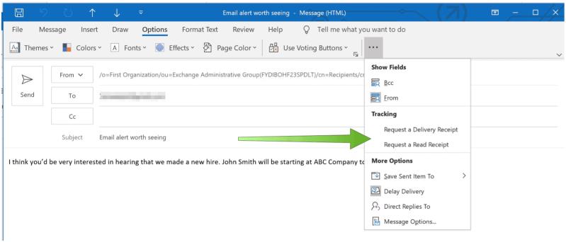 Запрос на чтение советов Microsoft Outlook