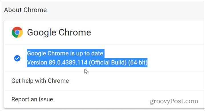 версия Chrome