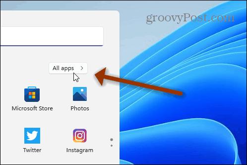 Все приложения Windows 11 меню