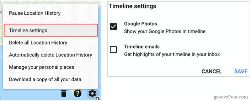 Настройки временной шкалы Google Maps, Показать Google Фото