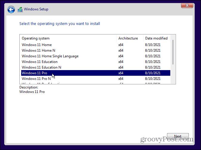 Выберите выпуск Windows 11