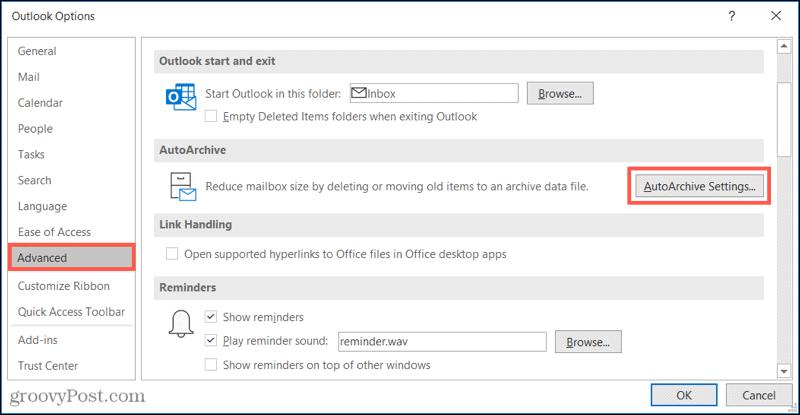 Расширенные настройки автоархивации в Outlook