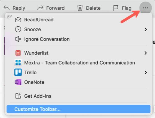 Просмотреть другие элементы, настроить панель инструментов в Outlook на Mac
