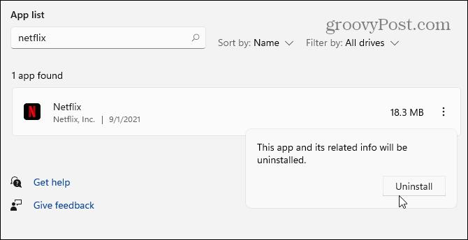 проверить удалить приложение Windows 11