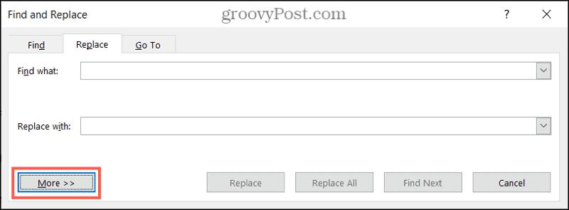 Дополнительные параметры поиска и замены в Word