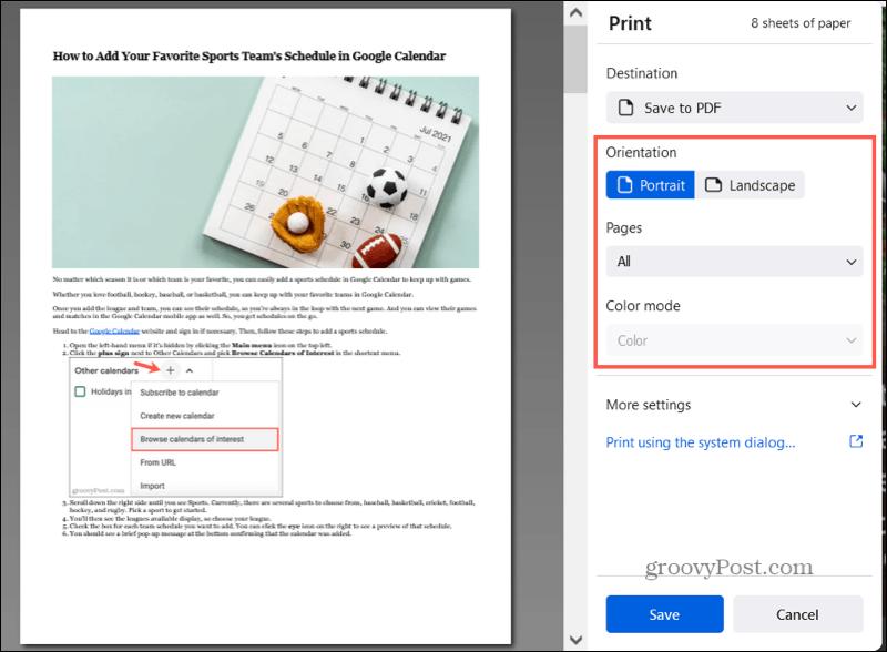 Сохранить в PDF в настройках Firefox