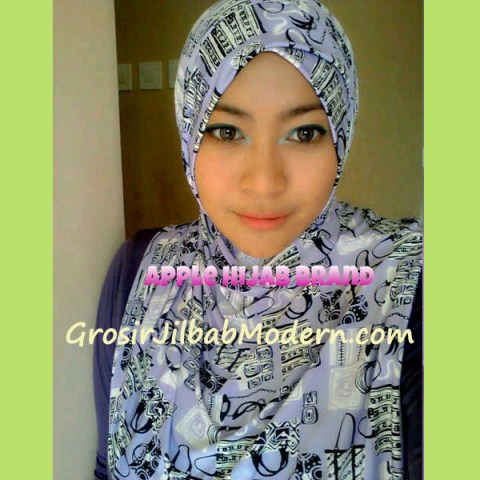 Jilbab Syria Luccy keranjang ungu muda