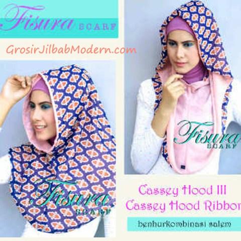 Jilbab Cassey Hood Ribbon Benhur Kombinasi Salem