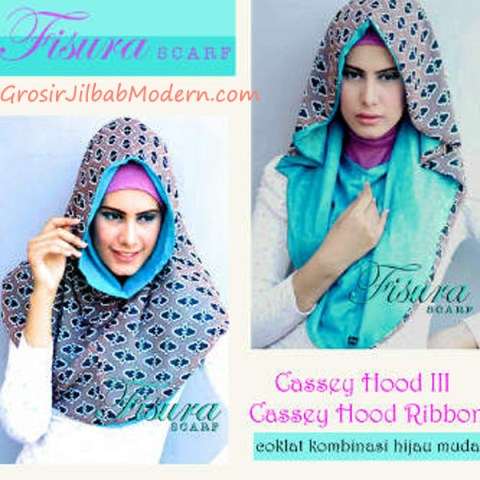 Jilbab Cassey Hood Ribbon Coklat Kombinasi Hijau Muda