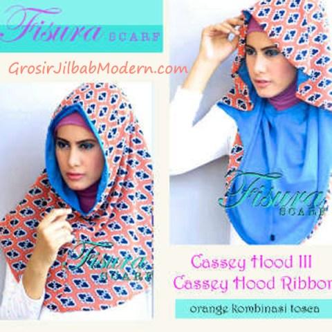 Jilbab Cassey Hood Ribbon Orange Kombinasi Toska