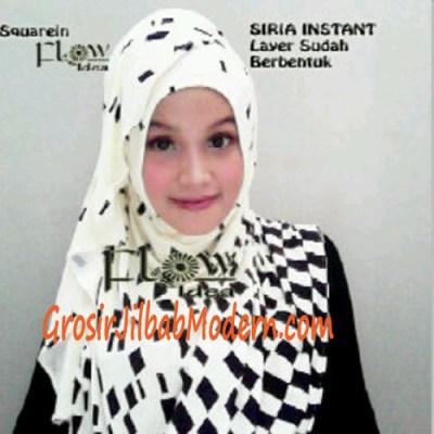 Jilbab Instant Squarein Putih Tulang