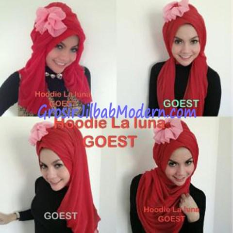 Jilbab Hoodie Laluna Moscrep Merah