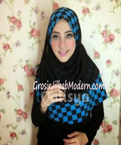 Jilbab Syria Elmo No 6 Hitam Biru