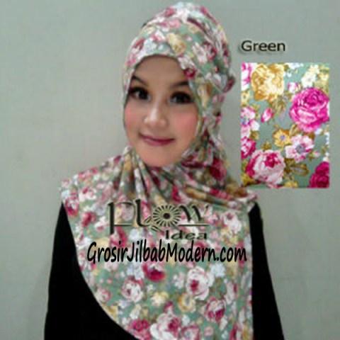 Jilbab Syria Qianne by FLOW Bunga Besar No 4 Green