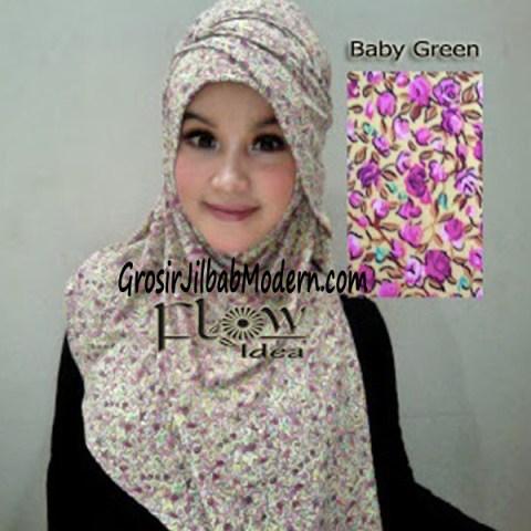 Jilbab Syria Qianne by FLOW Bunga Kecil No 1 Baby Green