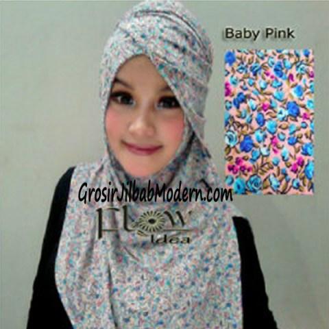 Jilbab Syria Qianne by FLOW Bunga Kecil No 3 Baby Pink