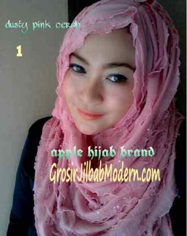 Jilbab Syrpash Ruffle Sparkling No 1 Dusty Pink Cerah